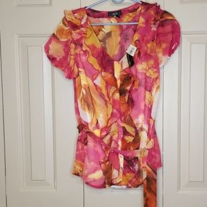 AGB Ruffle front blouse NWT